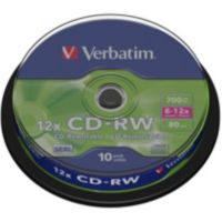 CD-R VERBATIM CD-RW 700MB 10PK Spindle