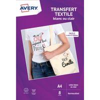 Papier AVERY 8 Transferts T-shirt blancs