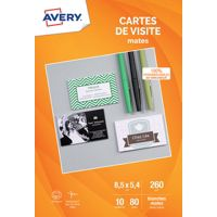 Carte AVERY 80 Cartes de visite 85x54mm