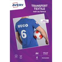 Papier AVERY 4 Transferts T-shirt noirs/
