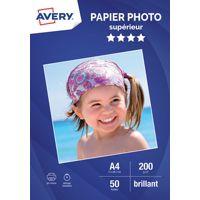 Papier AVERY 50 Photos brillantes A4 200