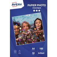 Papier AVERY 50 Photos brillantes A4 160