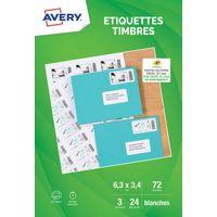 Etiquette AVERY 72 Etiquettes pour timbr